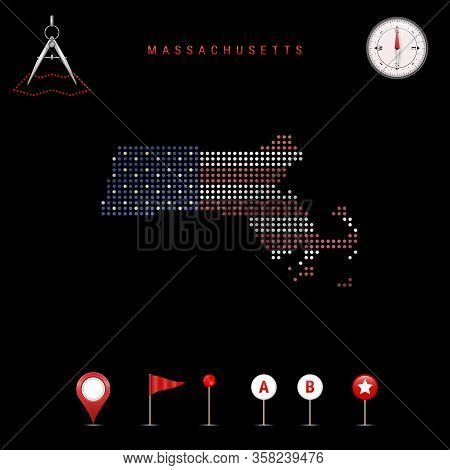 Dotted Map Of Massachusetts Painted In The Colors Of The National Flag Of The United States. Waving