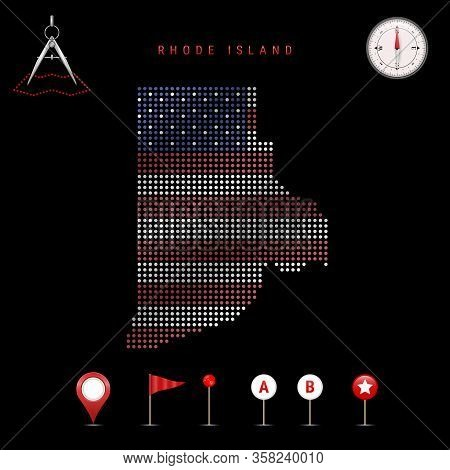 Dotted Map Of Rhode Island Painted In The Colors Of The National Flag Of The United States. Waving F
