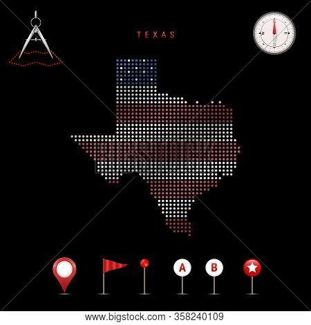 Dotted Map Of Texas Painted In The Colors Of The National Flag Of The United States. Waving Flag Eff