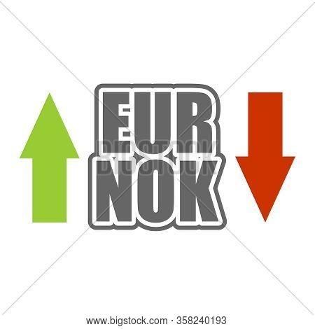 Financial Market Concept. Currency Pair. Acronym Eur - European Union Currency. Acronym Nok - Norweg
