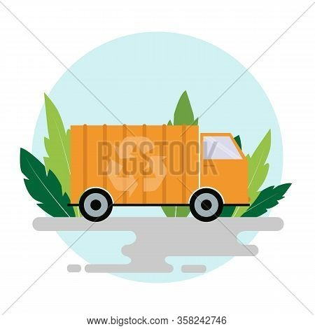 Waste Utilization Concept. Sanitation Truck With Recycling Symbol On White Background, Illustration