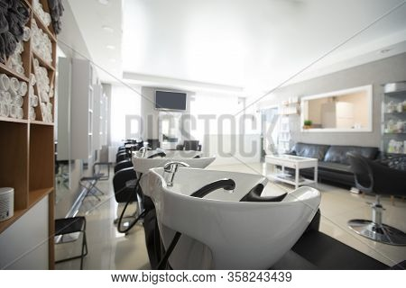 Focus On Sink For Washing Hair. Beauty Salon Inside