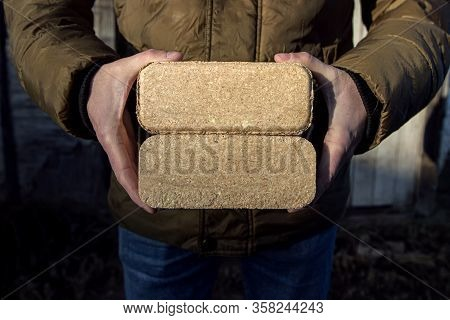 Alternative Fuel, Bio Fuel. Hands Holding Eco Briquette From Sawdust