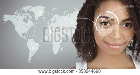 Personal Data Check. Retina Scan Of African American Girl, Double Exposure With Data On Cyber Screen