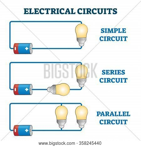 Electrical Circuits Vector Illustration. Simple, Series And Parallel Bulb Connection Scheme. Eu Stan