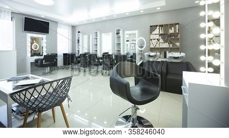 Hair Spa. Barber Shop With Professional Equipment, Panorama