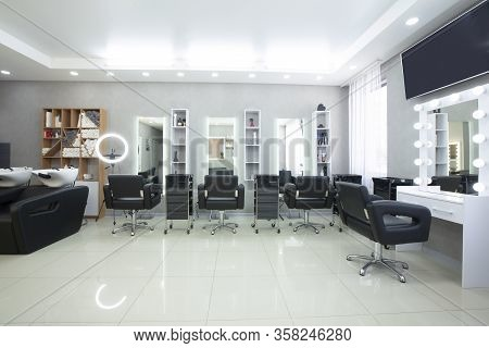 Hairdressing Procedures In Luxe Beauty Salon, Panorama, Free Space