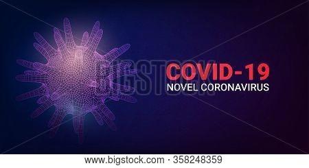 Coronavirus Concept Background. 2019-ncov, Virus Covid 19-ncp. Linear Outline Polygon. Vector Illust