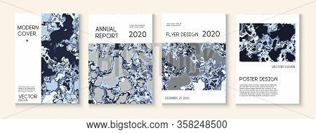 Geographic Map Fluid Paint Vector Cover. Water Ecology Blue Winter Report. Corporate Identity, Futur