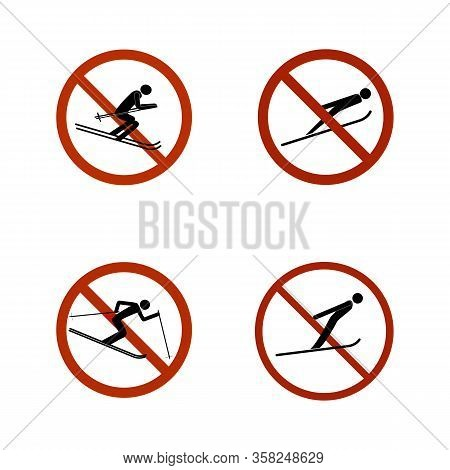 No Jumping Set Icons. Dangerous Leap. Sign Danger In Descent, Slope, Snow. Warning Of Avalanche Dang