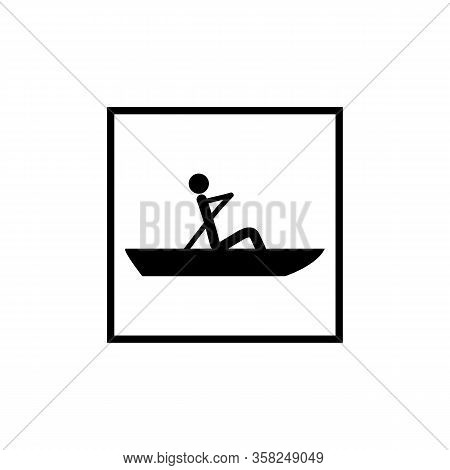 Water Sport. Water Rowing Icon. Logo Extreme Sport And Recreation In Water. Monochrome Template For