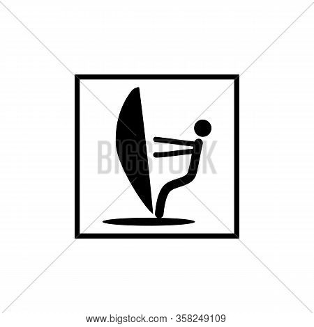 Sailing Sport Icon. Logo Extreme Sport And Recreation In Water. Monochrome Template For Poster, Logo
