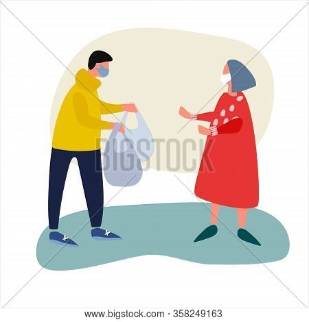 Volunteer Helps Elderly Woman With Shopping. Social Work During Quarantine Concept. Covid-19 Awarene