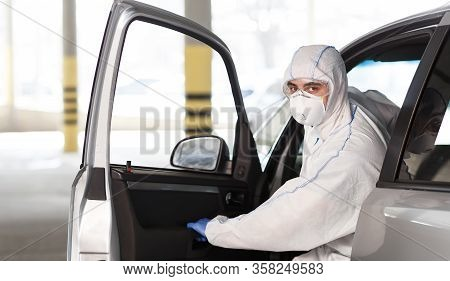 Man In Coronavirus Suit Planning To Drive By Car While Quarantine, World Pandemic, Covid 19