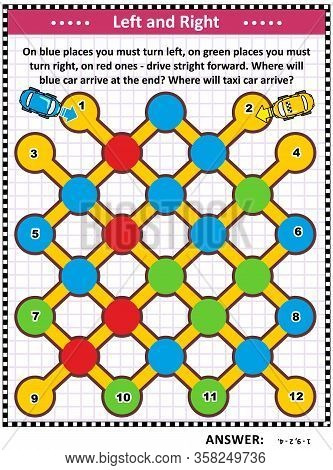 Left And Right Maze Game For Kids And Adults: On Blue Places You Must Turn Left, On Green Places You