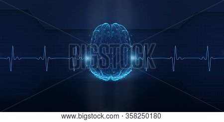 Illustration Of Invisible Screen With Brain And Heart Rate On Deep Blue Background, Panorama