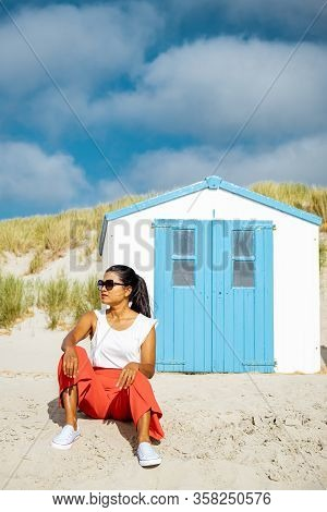 Texel Lighthouse During Sunset Netherlands Dutch Island Texel, Girl Visit The Lighthouse , Woman On
