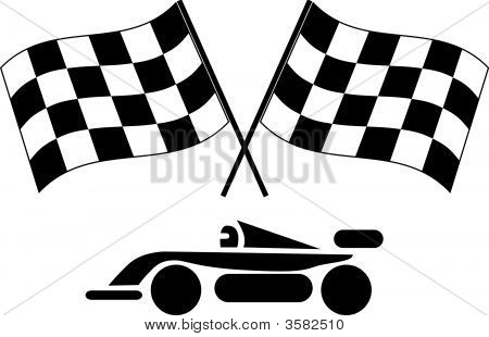 Checkered Flags And Race Car