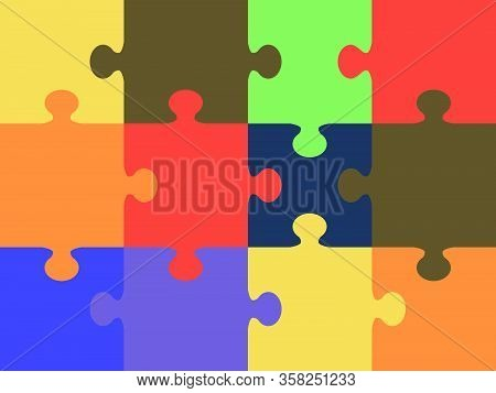 Vector Colorful Puzzle Lettering - Made From Puzzle Pieces. Many-colored Puzzle Pattern (removable P