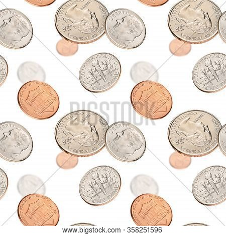 Flying With Us Penny, Dime, Quarter, Coins On White Background. Seamless Pattern.