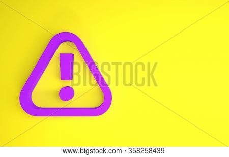 Purple Exclamation Mark In Triangle Icon Isolated On Yellow Background. Hazard Warning Sign, Careful