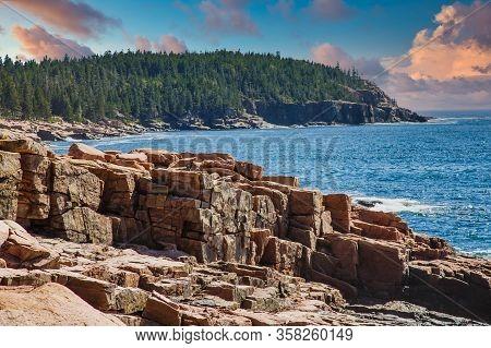 Rocky Coast In The Acadia National Forst Near Bar Harbor, Maine