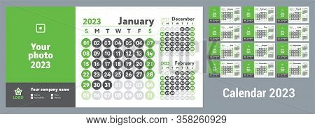 2023 Calendar. New Year Wall Planner Design. English Calender. Green Color Vector Template. Week Sta