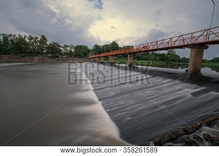 Weir In Ping River North In Chiangmai ,chiangmai,thailand.