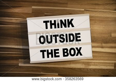 Lightbox Or Light Box With Message Think Outside The Box