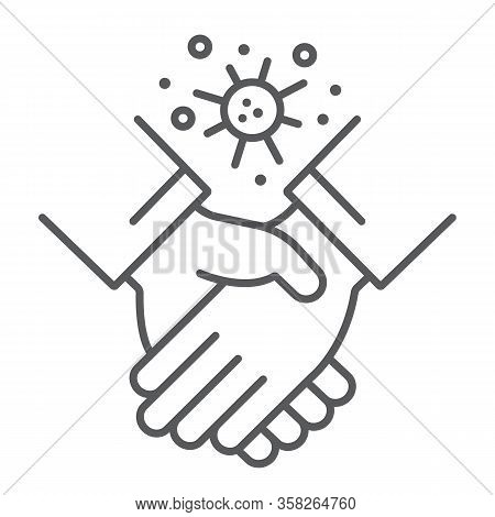 Contagion Handshake Thin Line Icon, Virus And Protection, Covid 19 Sign, Vector Graphics, A Linear P