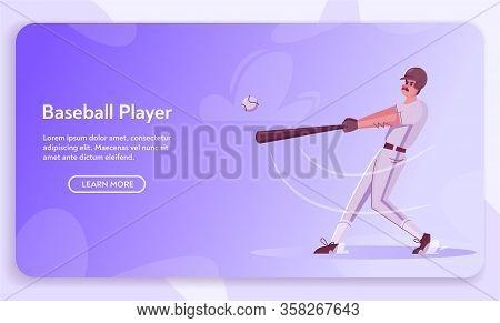 Baseball Player Is Training. Character Design. Cartoon Flat Illustration