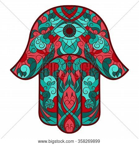 Traditional Eastern Or Indian Sacred Amulet And Religious Symbol-hamsa, Hand Of Miriam, Palm Of Davi