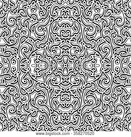Black And White Swirly Background, Elegant Seamless Pattern, Abstract Floral Ornament