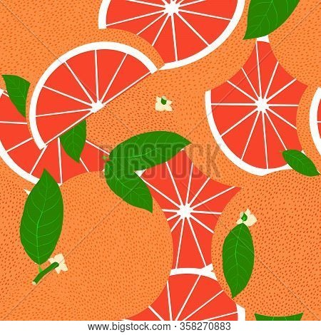 Tropical Seamless Pattern With Red Grapefruits. Vector Fruit Background Or Wallpaper.