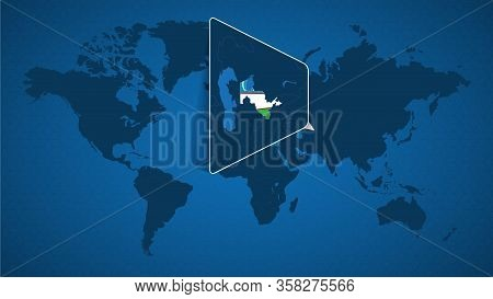 Detailed World Map With Pinned Enlarged Map Of Uzbekistan And Neighboring Countries. Uzbekistan Flag