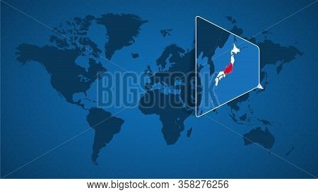 Detailed World Map With Pinned Enlarged Map Of Japan And Neighboring Countries. Japan Flag And Map.
