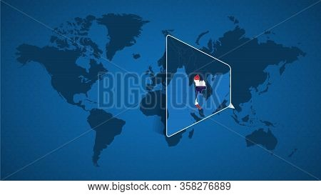 Detailed World Map With Pinned Enlarged Map Of Thailand And Neighboring Countries. Thailand Flag And