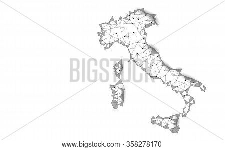 Italy Geographic Contour Map. 3d Low Poly Digital Banner. International Global Country Travel Outbre
