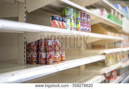 Bangkok, Thailand - March 16, 2020: Empty Food Shelves In A Supermarket Due To People Panicking And