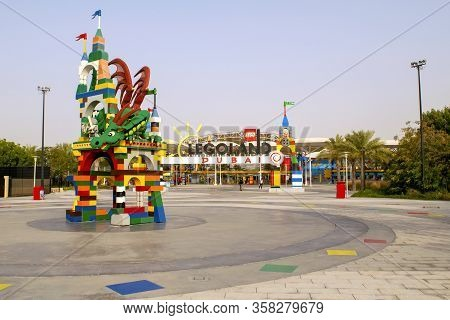 Dubai / Uae - March 9, 2020: Entrance Of Legoland At Dubai Parks And Resorts. Legoland Water Park.