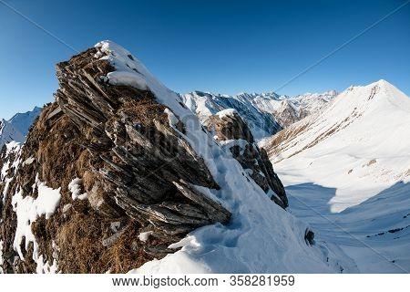 Beautiful View Of Stone Snow-capped Mountain.snow, Mountains