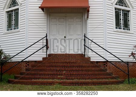Old Southern Church Doors Brick Steps