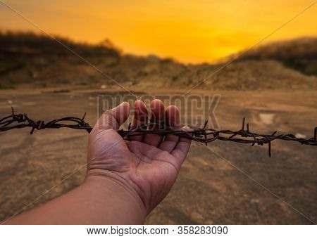 Hand Hanging On Barbed Wire With Rust At Sunset Background,  No Freedom Concept
