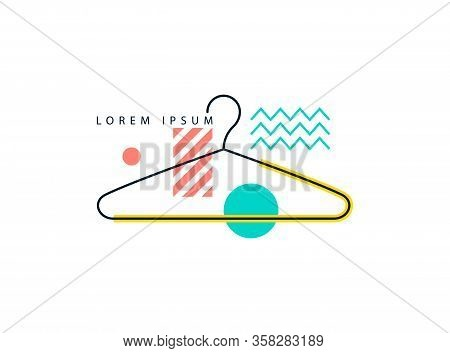 Icon With A Hanger For Clothes In A Modern Style. Clothes Hanger Isolated On A White Background. Lab
