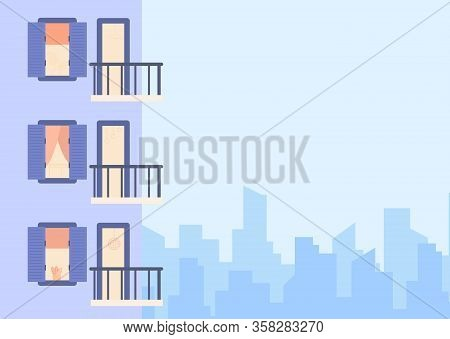 Vector Flat Modern Illustration Of House Facade Element, Multistoried Building, City Apartments, Out