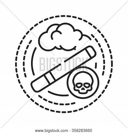 Smoking Addiction Black Line Icon. Physical Or Emotional Dependence On Nicotine. Pictogram For Web P