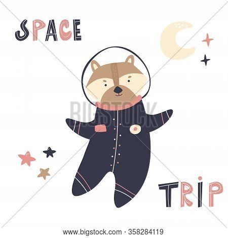 Happy Astronaut Raccoon In A Spacesuit And Helmet