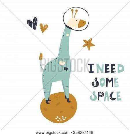 Happy Astronaut Giraffe In A Spacesuit And Helmet