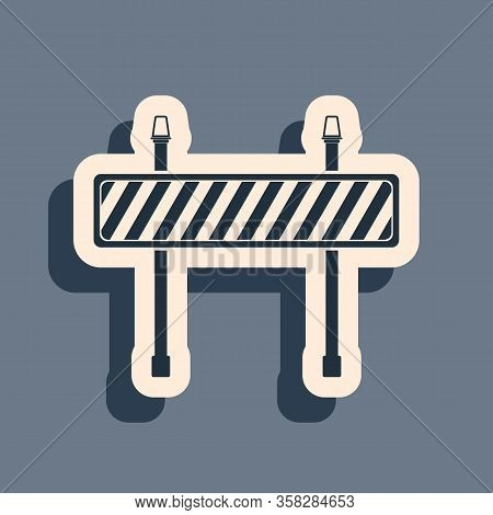 Black Road Barrier Icon Isolated On Grey Background. Fence Of Building Or Repair Works. Hurdle Icon.