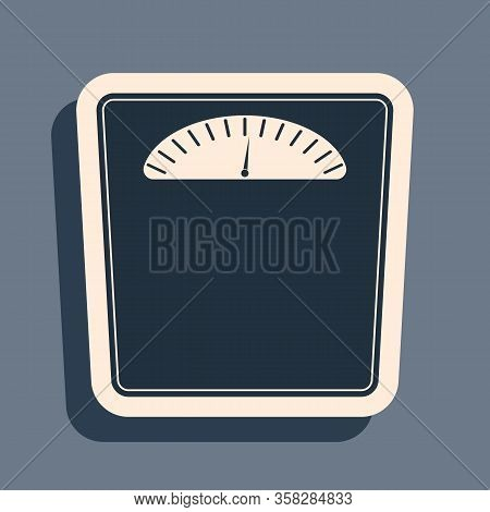 Black Bathroom Scales Icon Isolated On Grey Background. Weight Measure Equipment. Weight Scale Fitne